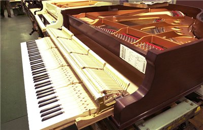 The keyboard and action installed in the piano